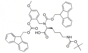 Structure of FMOC-(FMOCHMB)LYS(BOC)-OH CAS 166881-56-7